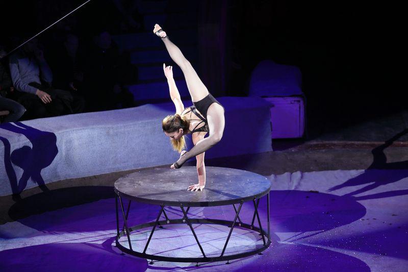 Гимнастка на манеже цирка, программа «Амазонки»
