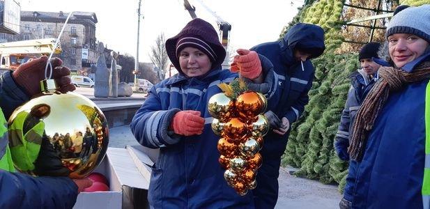 В Запорожье устанавливают новогоднюю елку, - ФОТОРЕПОРТАЖ
