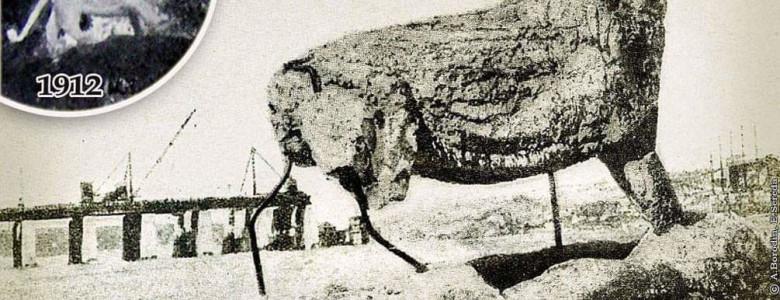 Запорожские краеведы показали уникальный снимок, на котором запечатлен ход Днепростроя и разрушенная скульптура льва, - ФОТО