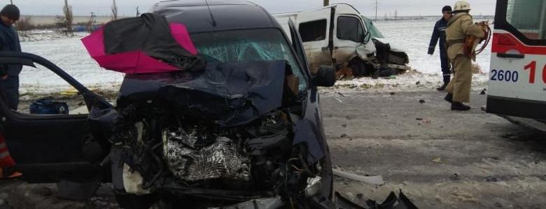 На заснеженной запорожской трассе столкнулись иномарка и микроавтобус: трое пострадавших, - ФОТО