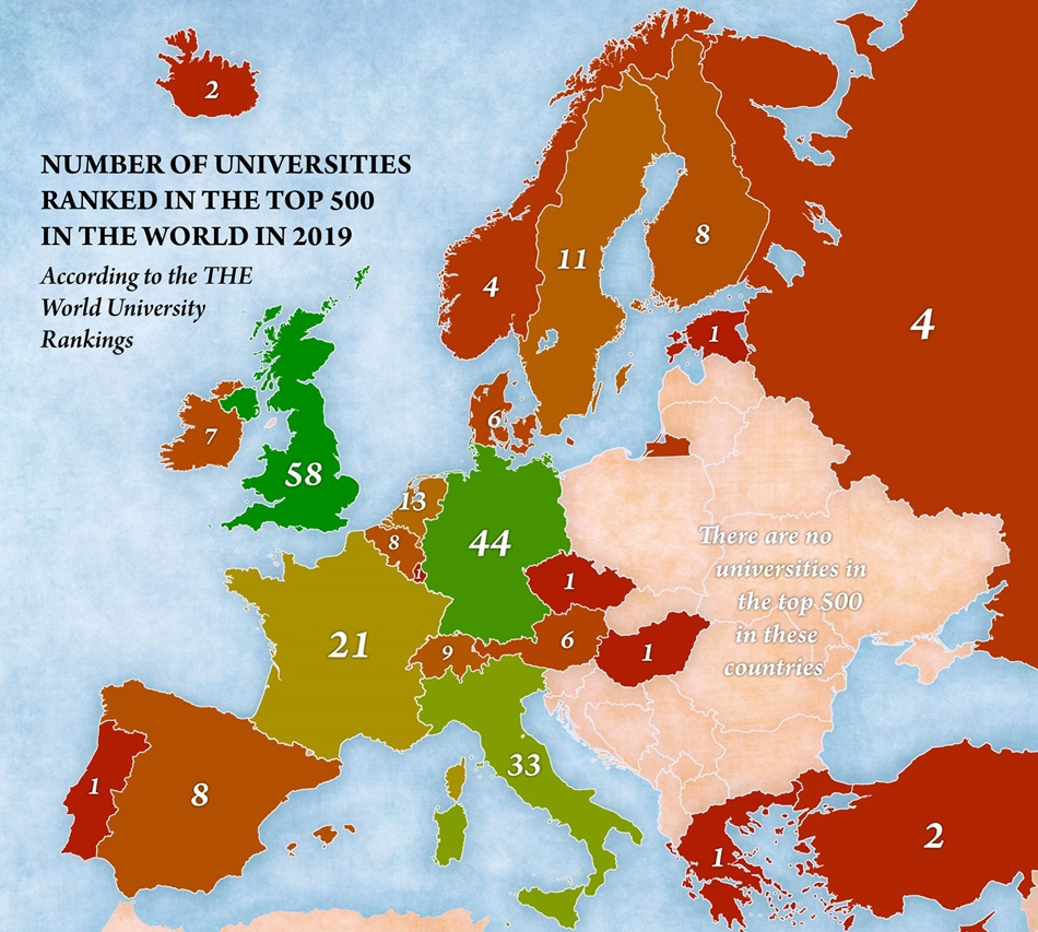 Количество университетов, попавших в топ-500 лучших в мире по странам Европы | Фото: jakubmarian.com