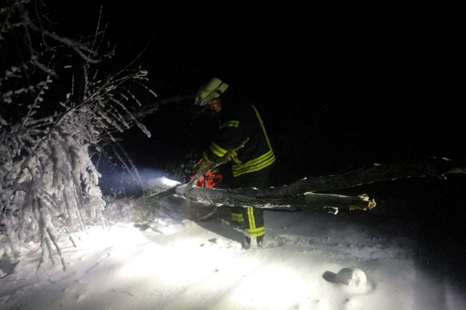 Спасатели убирают поваленные деревья на трассе. Фото: ГСЧС