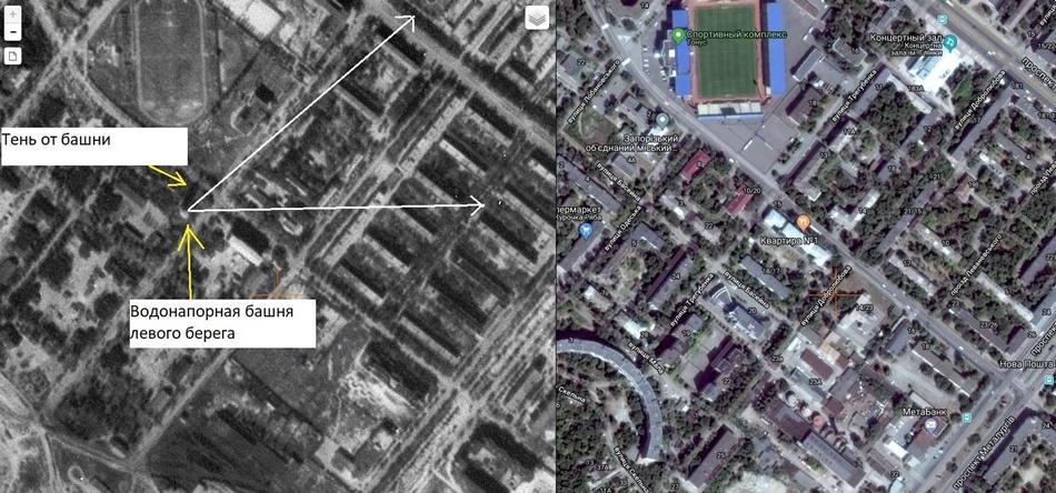 Аэрофотоснимок 1941 года и современный снимок Запорожья со спутника
