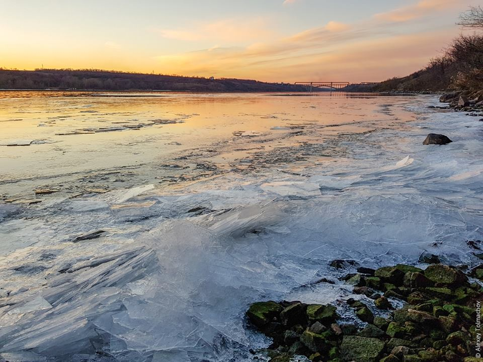 фотографии зимнего заката на Хортице