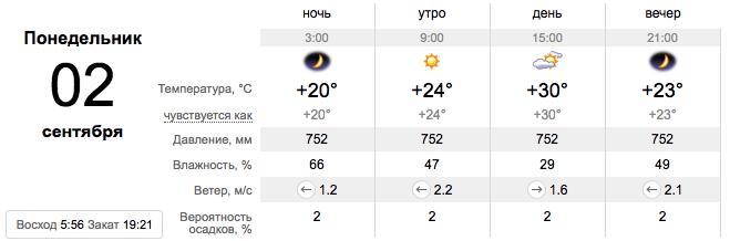 Погода на День знаний в Запорожье / sinoptik.de