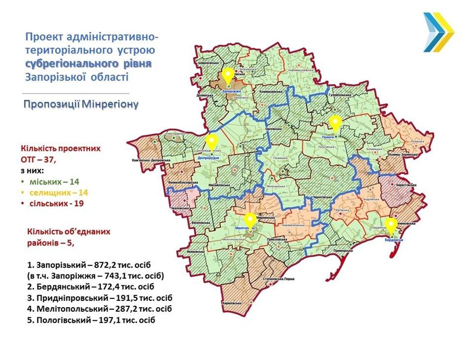 В Запорожской области будет 5 районов. Фото: fb Геннадій Зубко