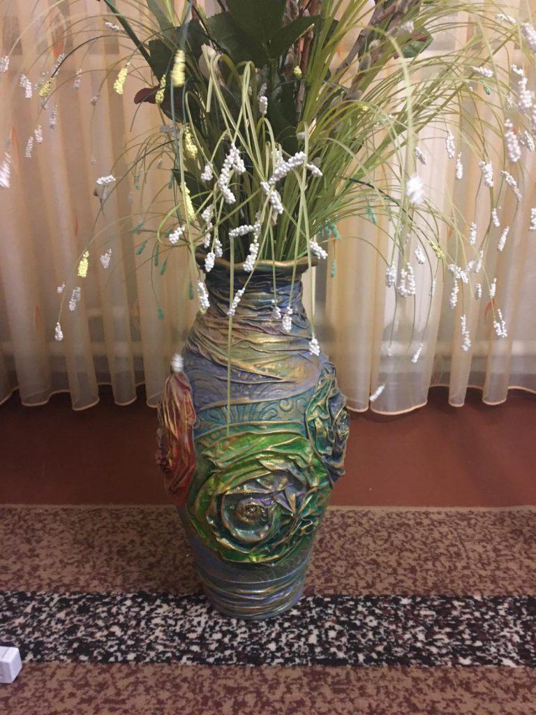 декупаж метровой вазы