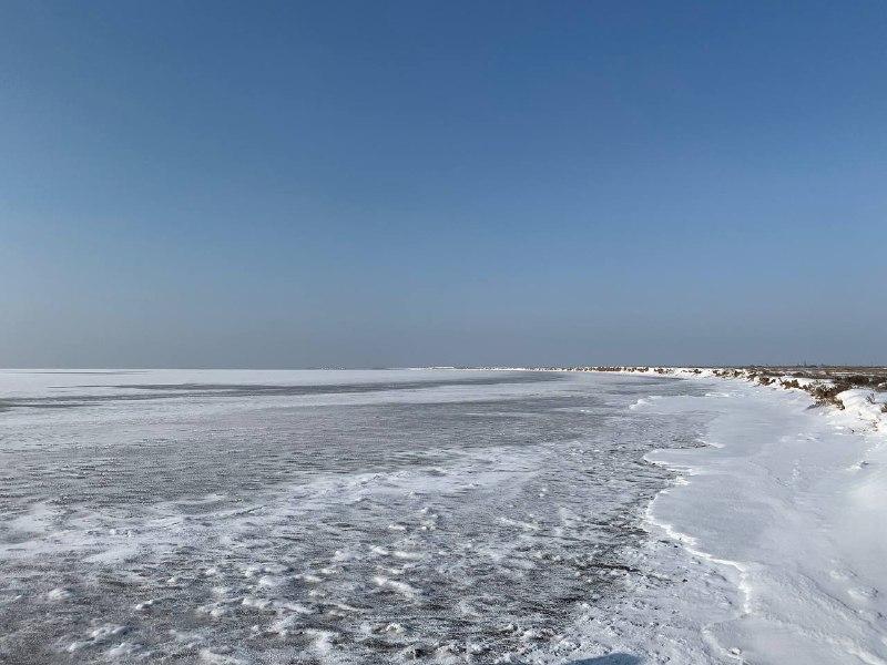 В Запорожской области лёд сковал Молочный лиман: уникальные кадры (ФОТО)