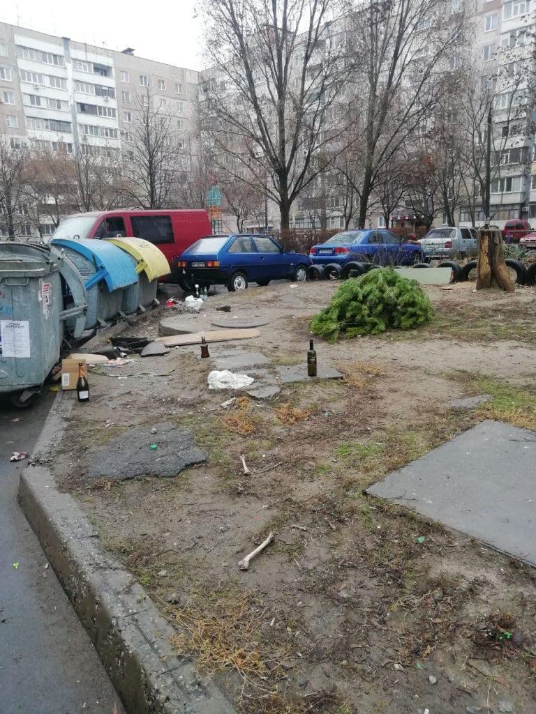 Сегодня только Рождество, но некоторые уже начали выносить елки на мусор