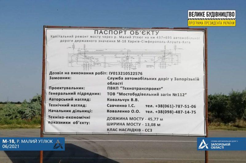 В Запорожской области на мосту через реку Малый Утлюк начали капитальный ремонт